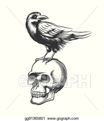 evil crow hand drawn vector illustration black raven devil on skull isolated white background