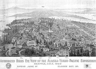 bird s eye view drawing of the alaska yukon pacific exposition 1909