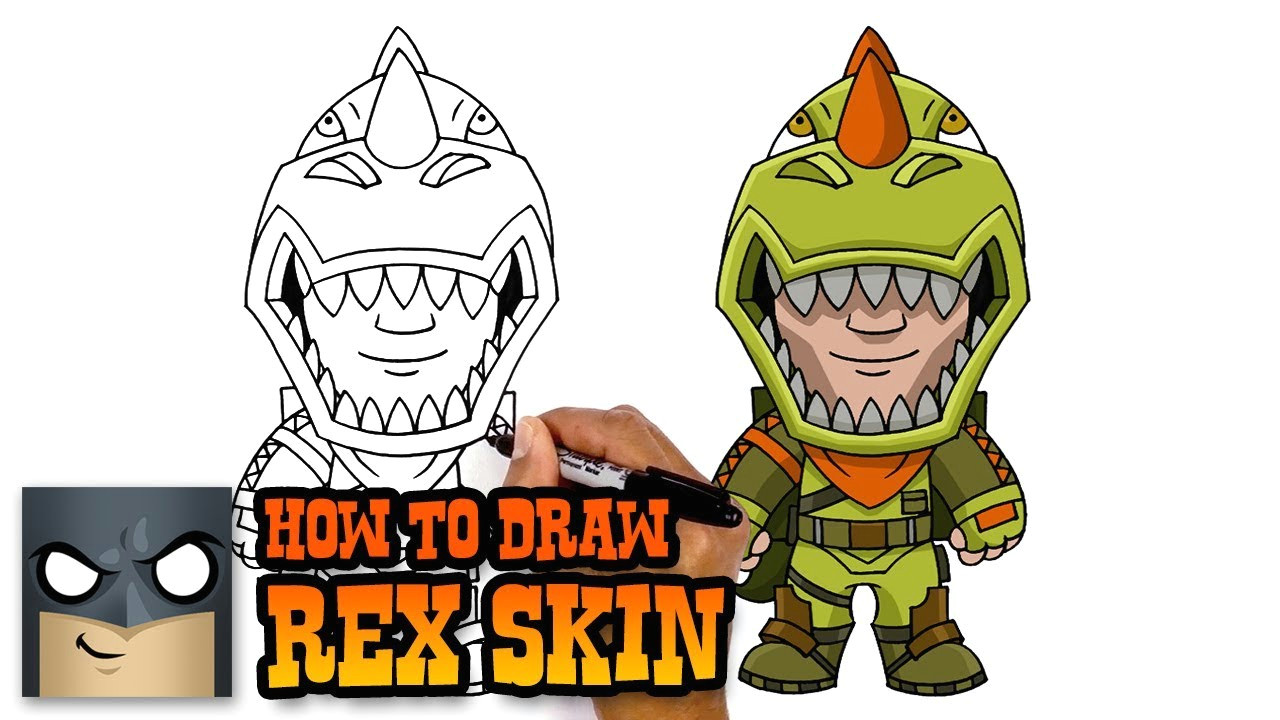 how to draw rex skin fortnite art tutorial
