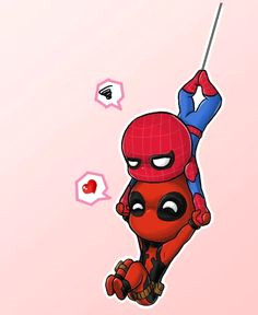 little deadpool fan art deadpool and spiderman by