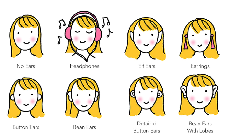 8 ways to draw cartoon ears