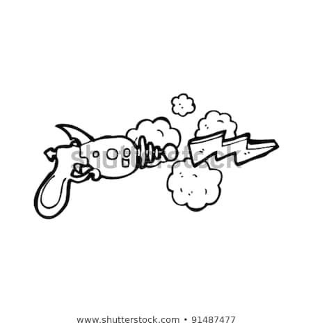 ray gun shooting lightning bolt cartoon