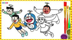 doraemon and friends drawing and coloring doraemon characters cartoon hindi