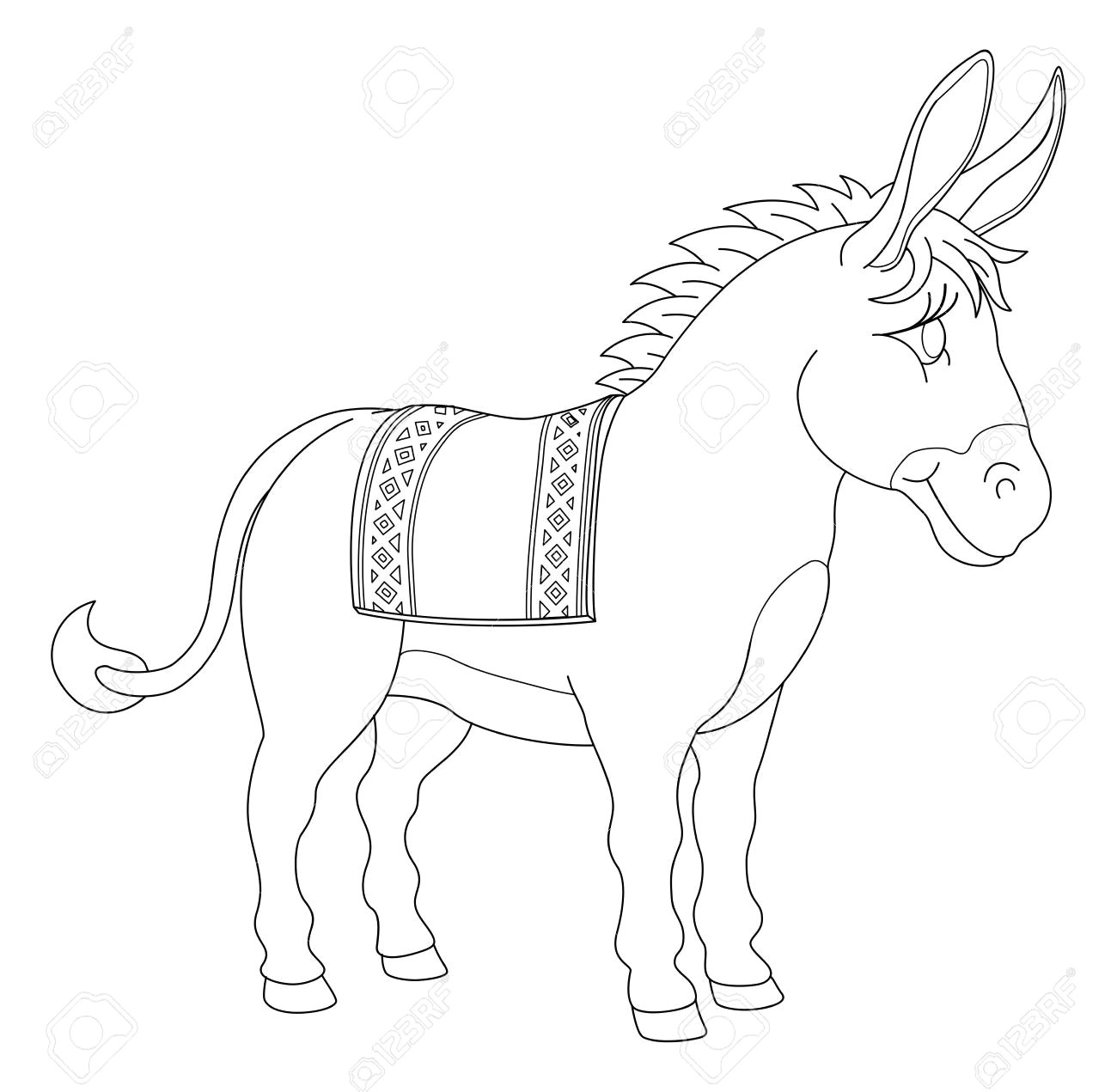 a donkey animal cute cartoon character black and white coloring illustration stock vector 112752801