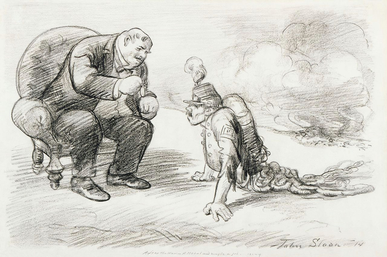 digitally restored after the war a medal and maybe a job cartoon drawing shows a