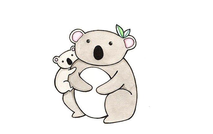 koala illustration watercolor animals watercolor painting koalas kangaroos pebble art stone art hug kate spade