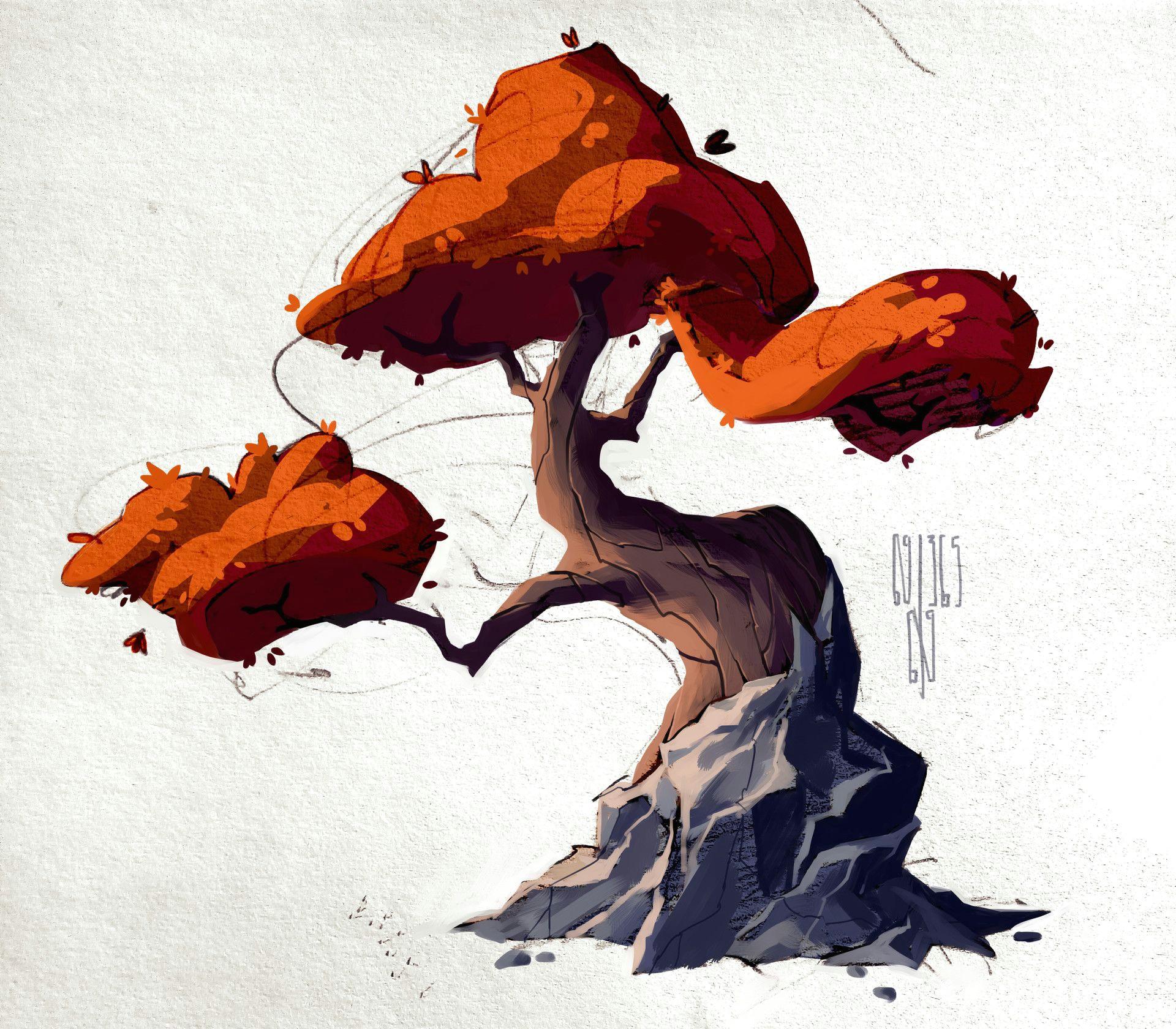 artstation trees anastasia walker landscape drawings 3d drawings cartoon trees plant
