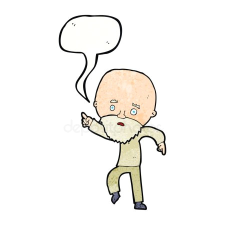cartoon besorgt alten mann zeigen mit sprechblase