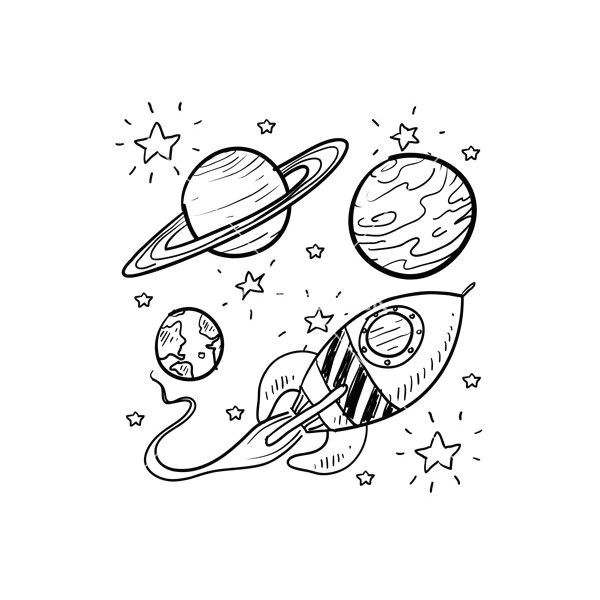 doodle space planets rocket ship stars explore vector a liked on polyvore featuring fillers drawings doodle phrase quotes saying scribble and text