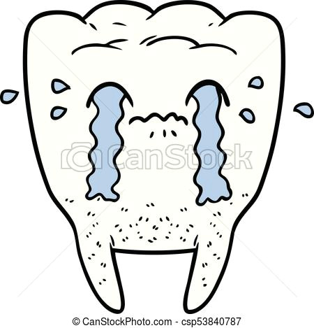 cartoon tooth crying csp53840787