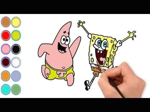 draw cartoon spongebob and color cartoon spongebob i learn color for toddlers i learn colors