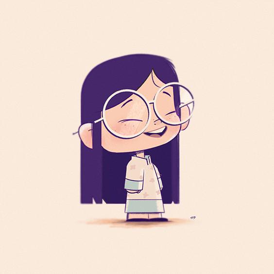 Drawing Cartoon Wala Glasses Cute Digital Painting Illustration Character Design
