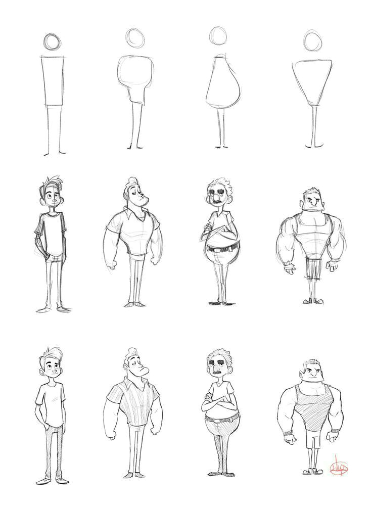 i thought it would be nice to share one of the ways i sketch out character ideas i first sketch the simple head and body shapes then i sketch lines fo