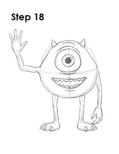 how to draw mike wazowski 18 disney character drawings disney characters to draw disney