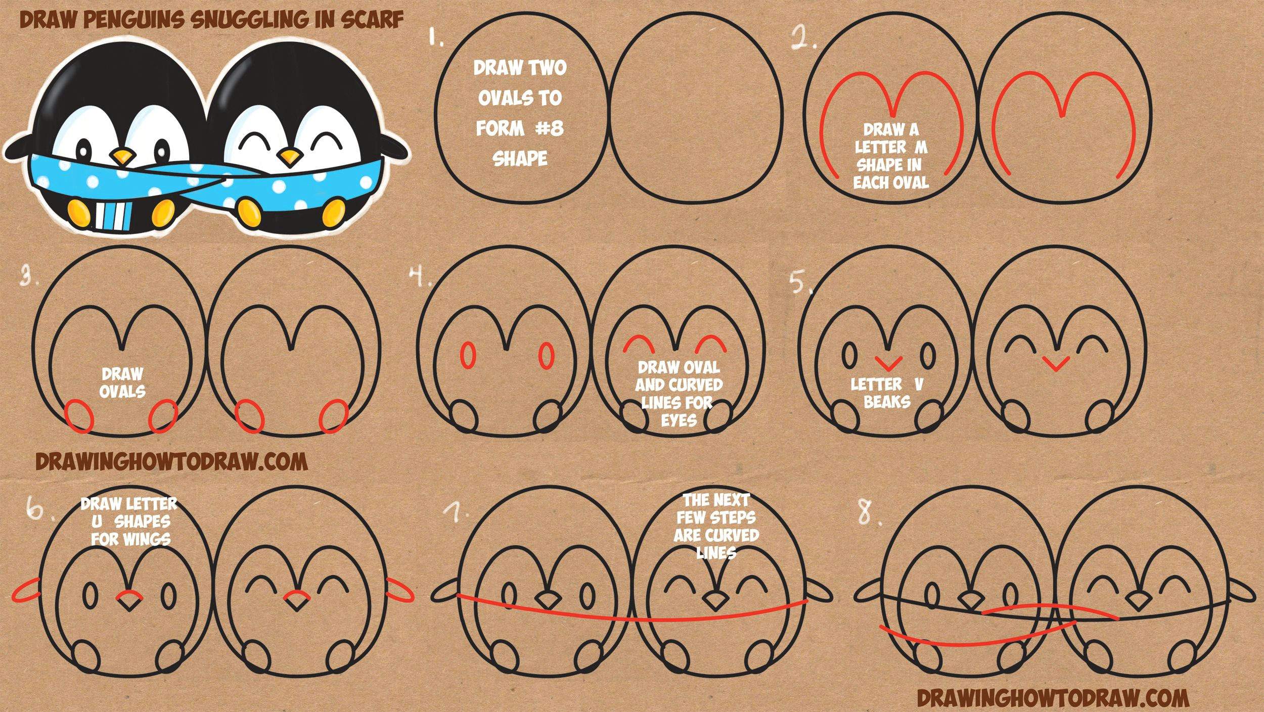 how to draw cute kawaii chibi cartoon penguins in a scarf for winter easy step by step drawing tutorial for kids