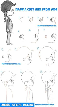 how to draw a cute chibi manga anime girl from the side view easy step by step drawing tutorial for kids beginners manga drawingcartoon