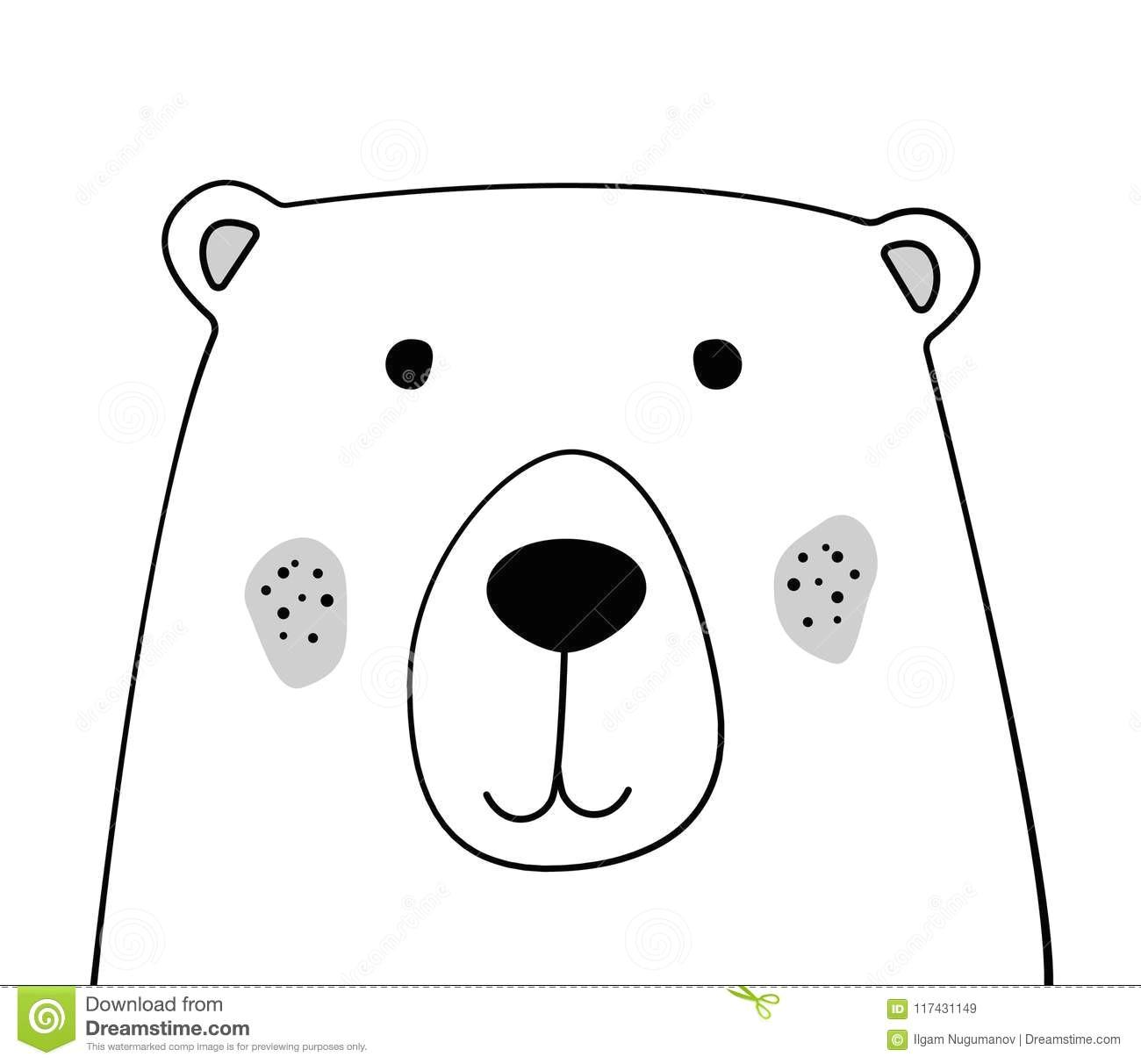 doodle sketch bear illustration cartoon teddy bear wild animal postcard poster