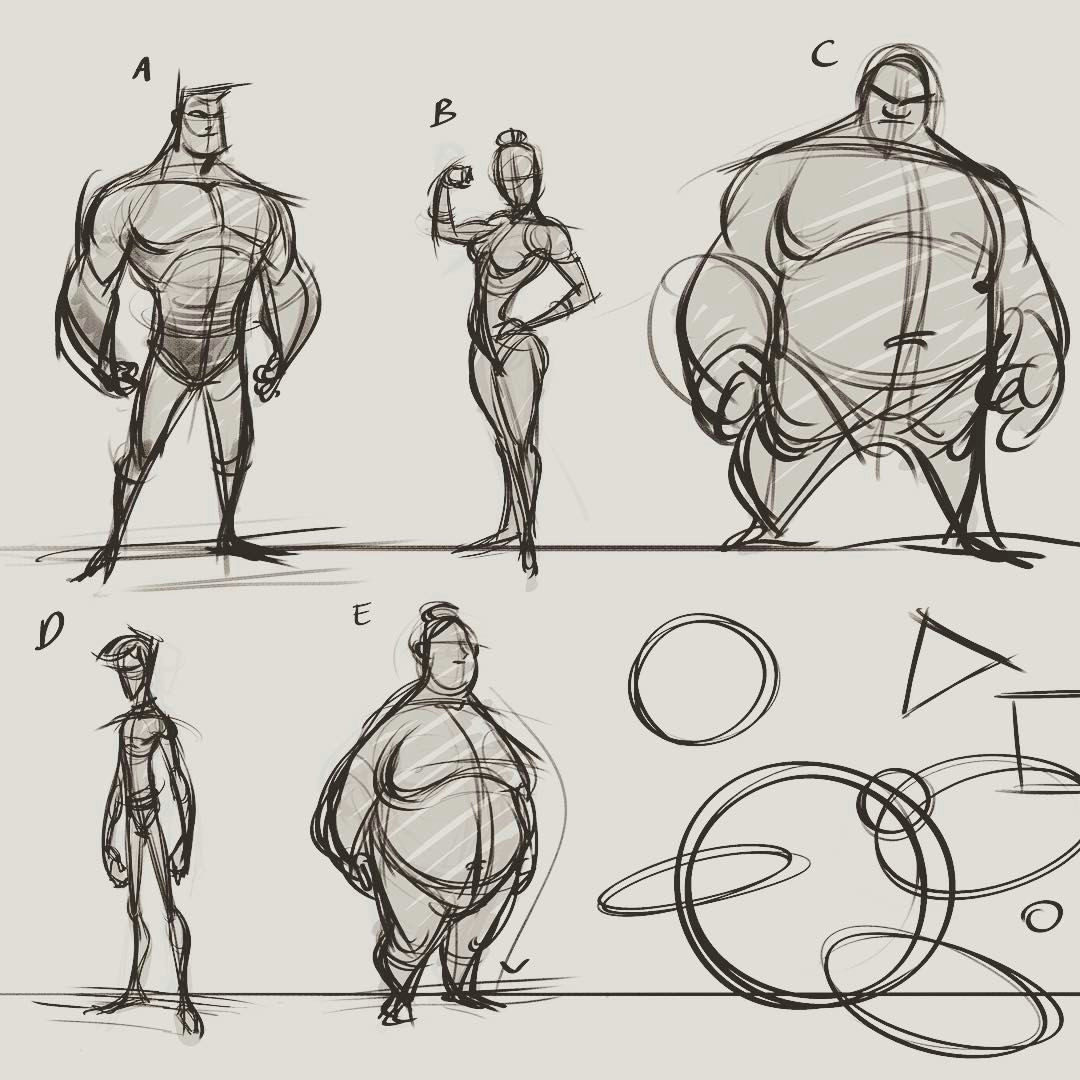 old compilation page of character and proportion studies out of my head