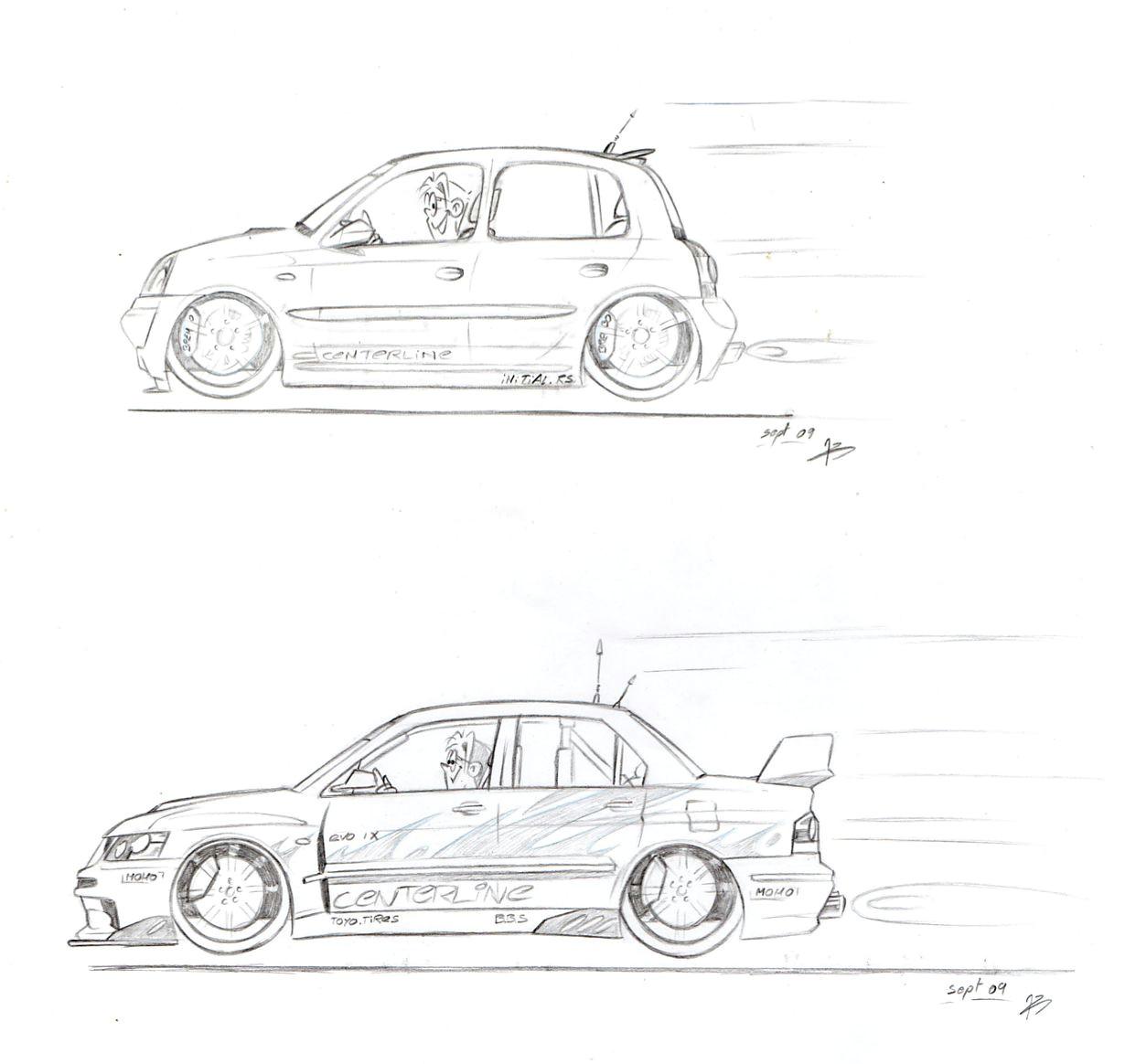 cars cartoon drawing lineart