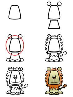 drawing a cartoon lion