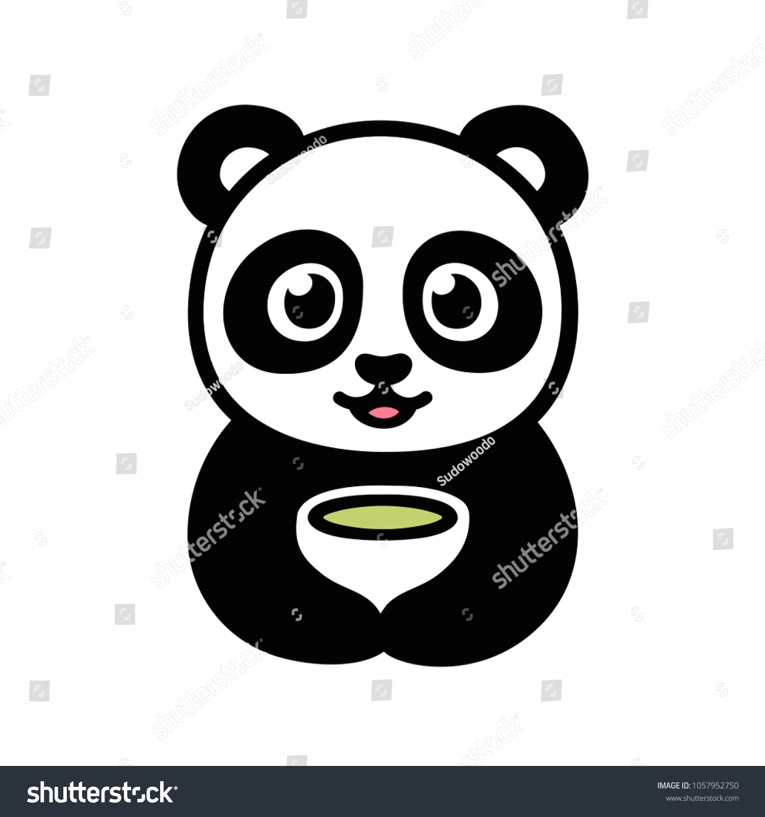 cute cartoon panda with cup of green tea traditional asian food and drink illustration