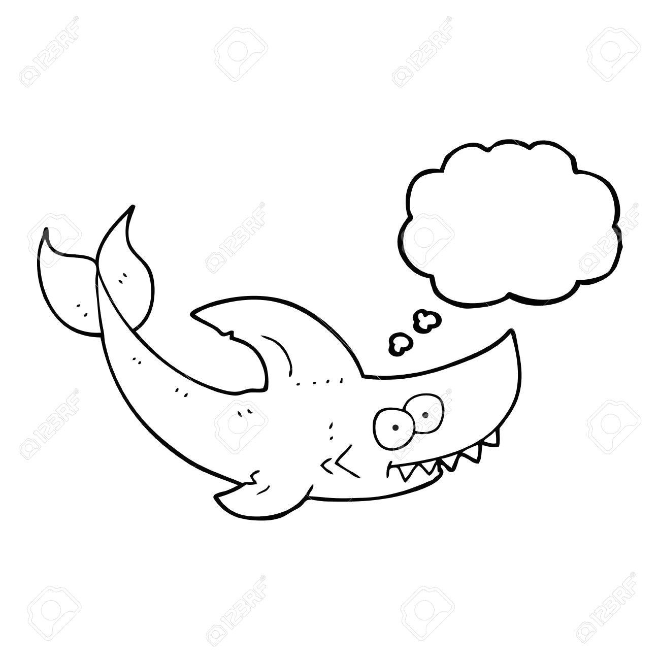 Drawing Cartoons Shark Freehand Drawn thought Bubble Cartoon Shark Royalty Free Cliparts