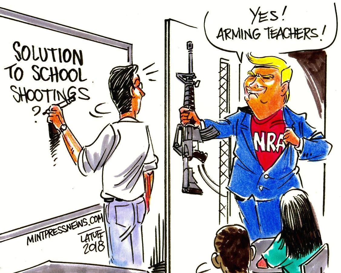 quick draws cartoonists shoot down trump s idea of arming teachers nj com