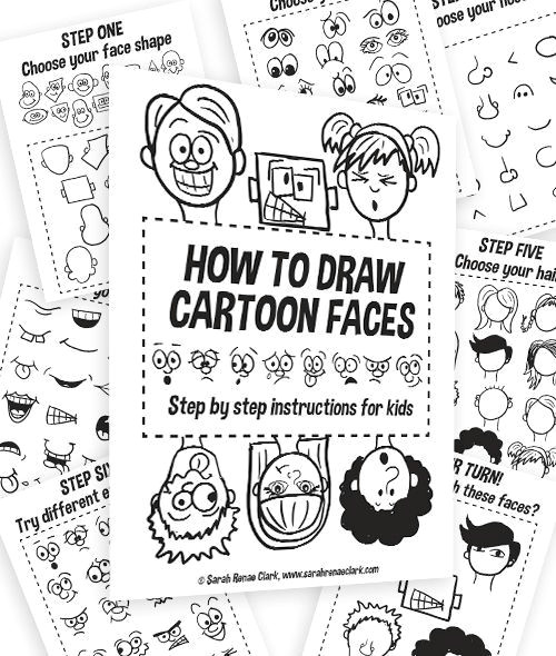 how to draw cartoon faces get a printable workbook for kids and free picture references in this helpful blog post
