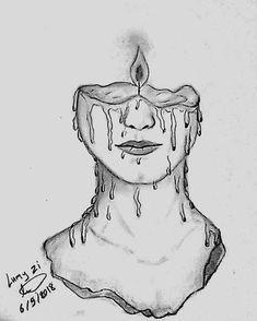 woman art draw drawing girl candle art
