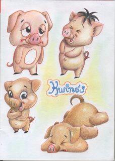 little cartoon pigs in prismacolor pencils drawing cartoon characters cartoon drawings animal drawings