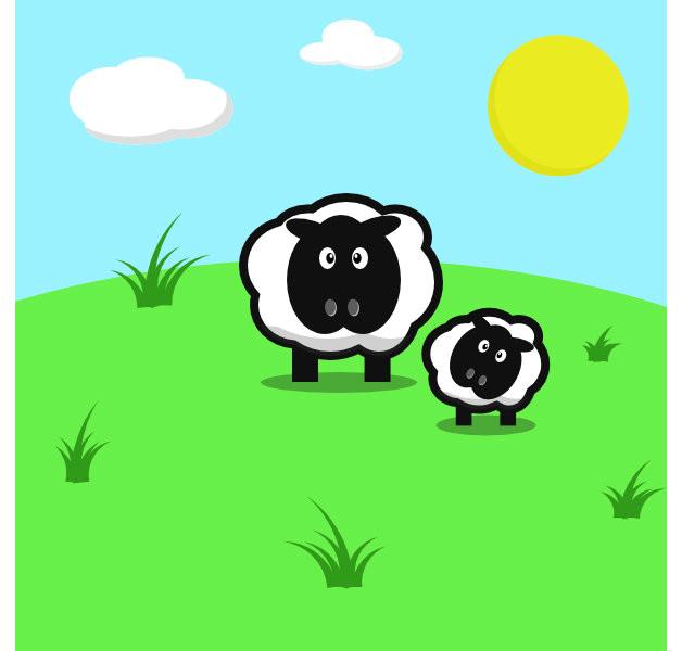 a cartoon sheep drawn in inkscape