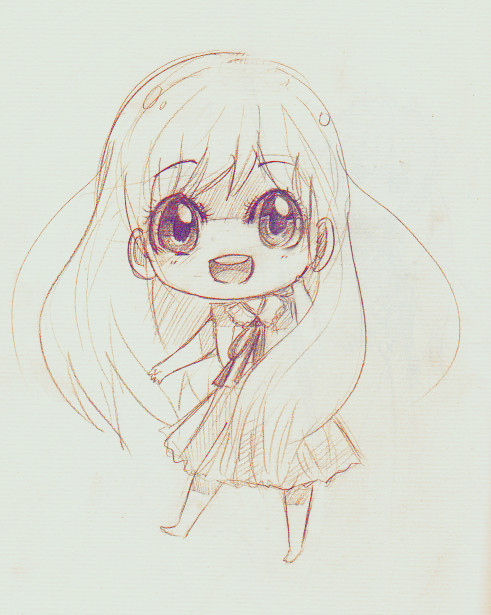 anime art a chibi big eyes smile drawing pencil graphite sketch cute kawaii