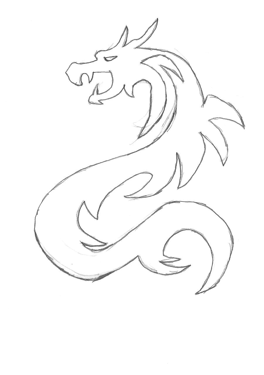 images for simple dragon sketches