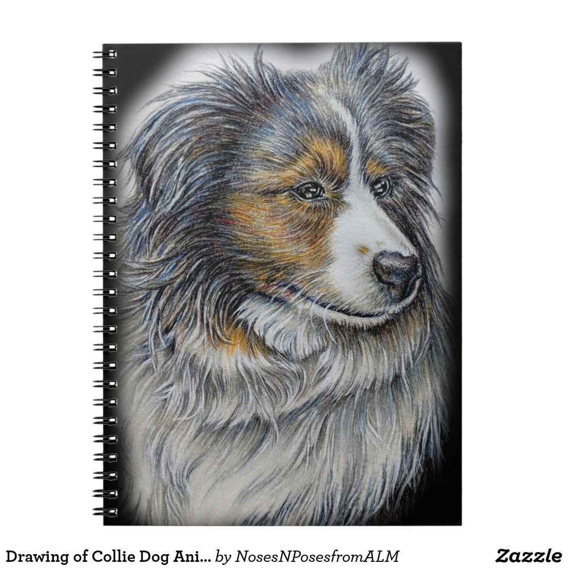 drawing of collie dog animal art notebook