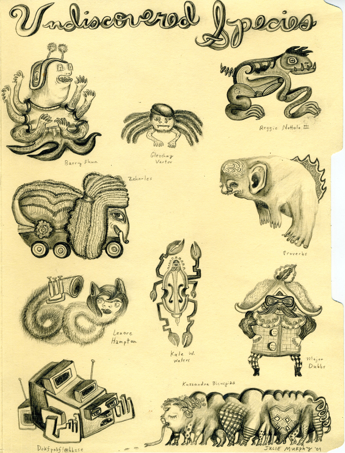 pencil creatures detail 2
