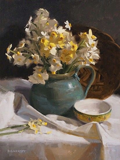 laurie kersey narcissus on white oil painting entry march 2016 boldbrush painting competition