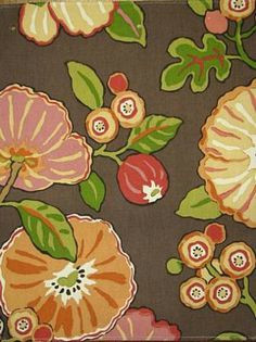 od hip floral choclate indoor outdoor fabric by p kaufmann fabric 100