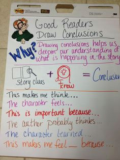 drawing conclusions anchor chart helpful to teach my bebes reading strategies reading lessons