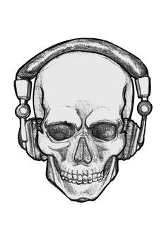 people with headphones drawing clipart best cool skull drawings skull sketch skeleton drawings