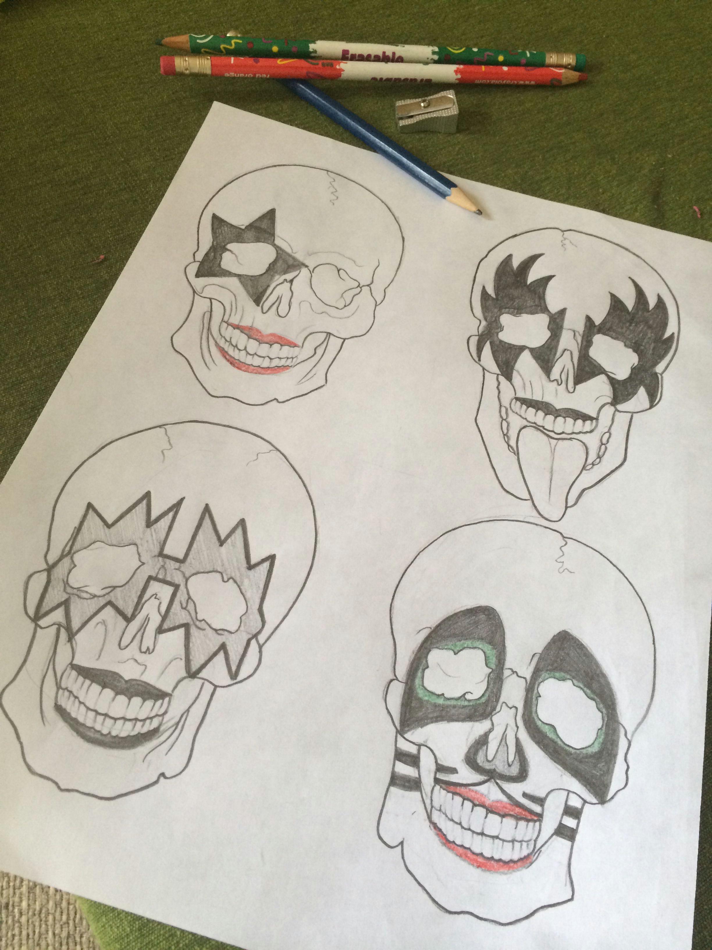 cool drawing just finished kiss tattoo rocknroll skull