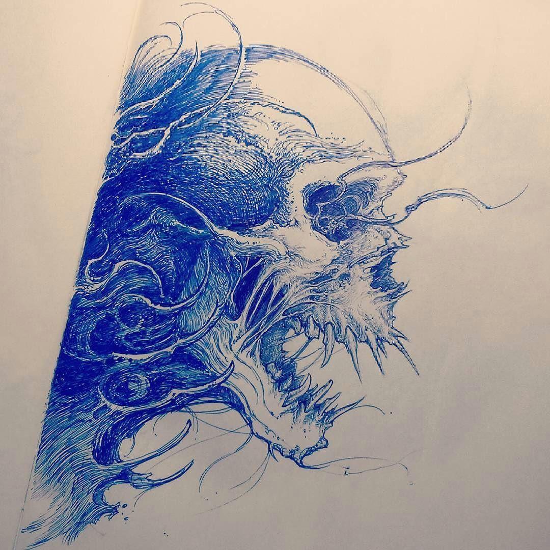 skull sketch tattoosketch by nekronikon