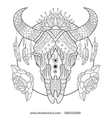 cow skull coloring book vector illustration anti stress coloring book for adult tattoo stencil black and white lines lace pattern