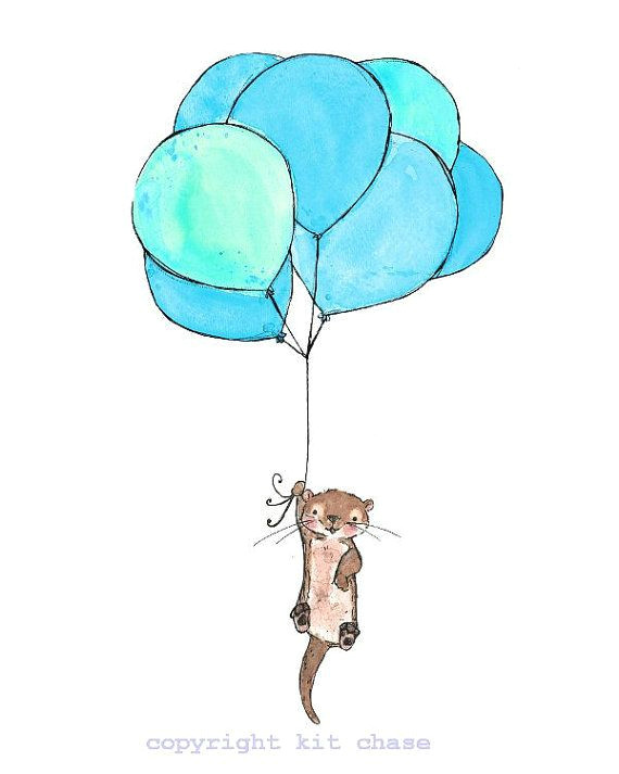otter balloons 8x10 archival print by trafalgarssquare on etsy 20 00