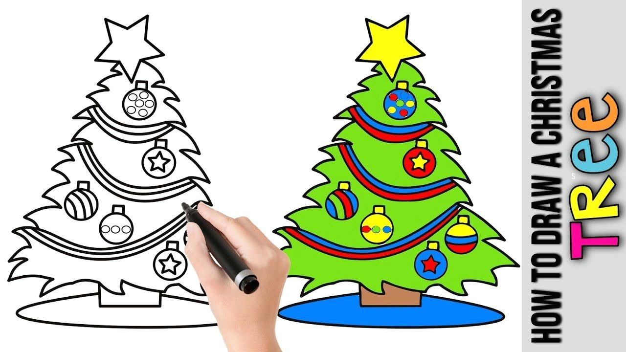 how to draw a christmas tree a cute easy drawing tutorial for beginners