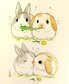 bunnies eat lettuce kiss cute animal drawings cute drawings rabbit illustration landscape