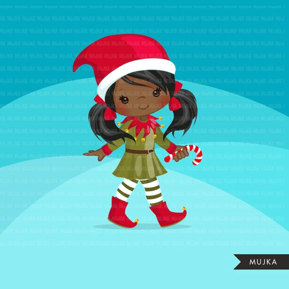 christmas elf clipart cute noel illustration elves with candy cane holiday cute characters santa
