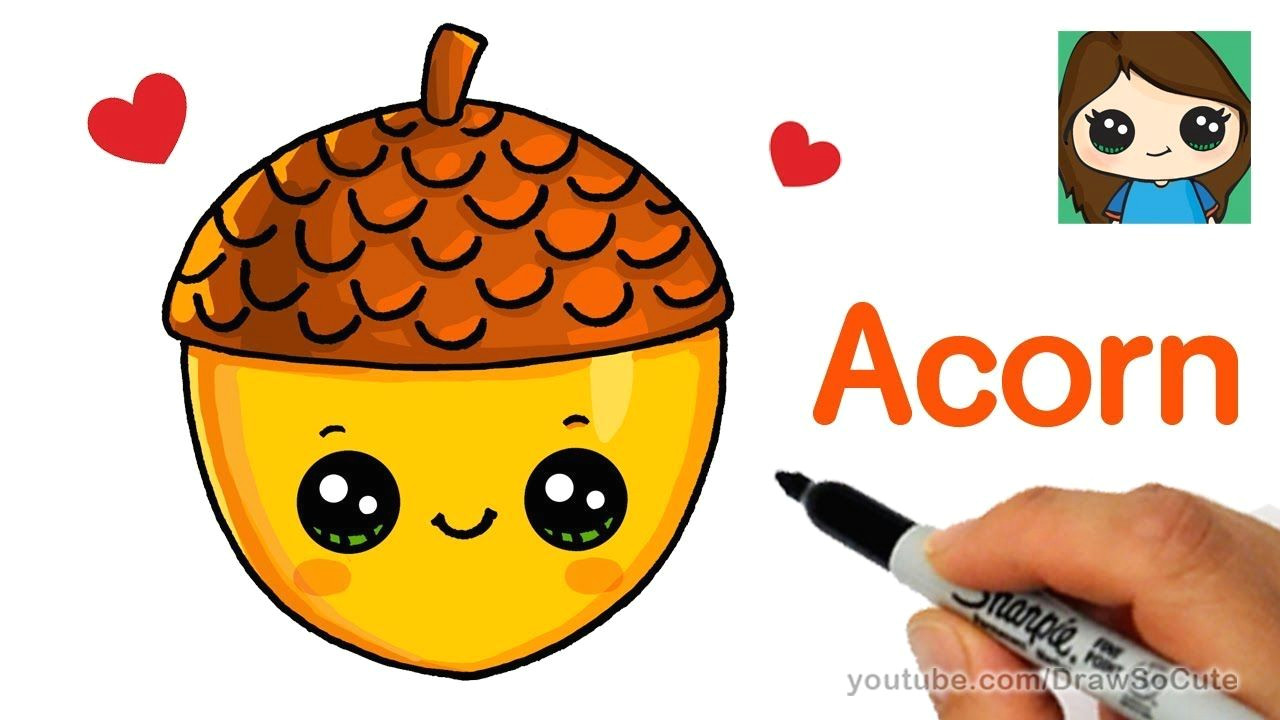 how to draw a cute acorn easy youtube