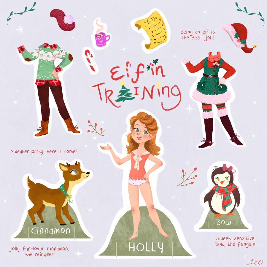 illustrator monique dong holly the elf in training illustration art drawing characterdesign childrensbooks cute kids paperdoll christmas dressup