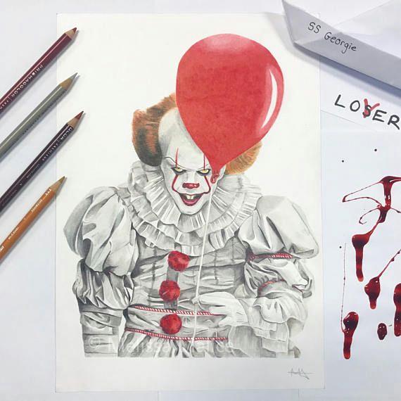 original pennywise the clown bill skarsgard drawing