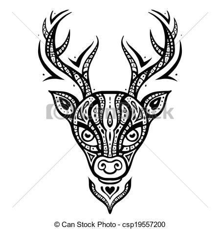 deer head ethnic pattern csp19557200